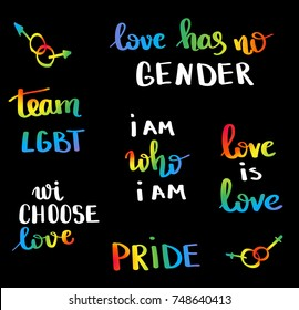 Gay pride slogan with hand written lettering. Inspirational  LGBT rights concept poster. Homosexuality emblem. Multicolored peace flag movement. Print vector design
