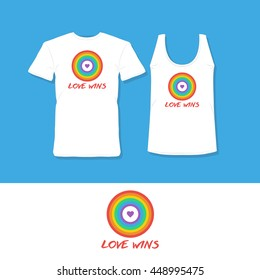 Gay pride t-shirt design. Love wins. Rainbow design.