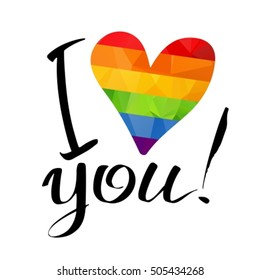 Gay rainbow heart and ink hand drawn letters isolated on white background. Gay love symbol. LGBT love symbol. I love you inscription. Valentine's Day card.