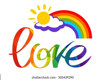 Gay rainbow with letters. Gay pride symbol. LGBT pride symbol. Calligraphic design element for flyer or banner.
