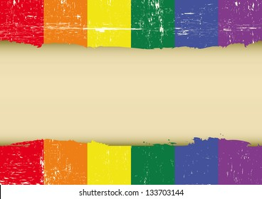 Gay rainbow scratched flag. A gay flag with a large frame for your message