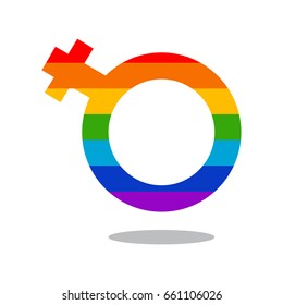 Gay rainbow vector icon. Female gender symbol. LGBT logo concept isolated on a white background.