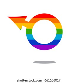 Gay rainbow vector icon. Male gender symbol. LGBT logo concept isolated on a white background.