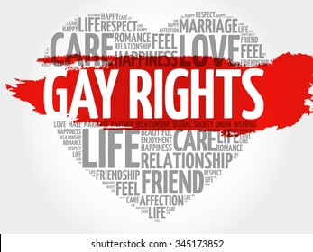 Gay rights concept heart word cloud