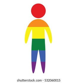 Gay vector icon in colors of LGBT rainbow flag