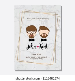 Gay wedding couple. Vector illustration of gay marriage. Same-sex family. Could be used for wedding invitation, Save the Date cards.