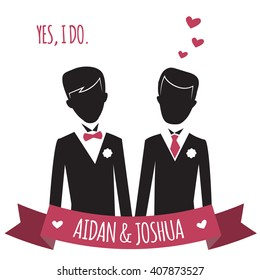 Gay wedding couple. Vector illustration of gay marriage. Same-sex family. Black silhouettes of two grooms in tuxedos.  isolated on white. Could be used for wedding invitation, Save the Date cards etc.