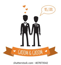 Gay wedding couple. Vector illustration of gay marriage. Same-sex family. Black silhouettes of two grooms in tuxedos, isolated on white. Could be used for wedding invitation, Save the Date cards etc.