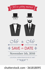 Gay Wedding Invitation. Card template vector. Elegance illustration with gay couple