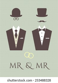 Gay wedding vector graphics. Schematic illustration of same sex male couple. Elegant design elements for same sex wedding ceremonies made in fancy retro style.