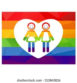 Gay women couple isolated on white background. Gay rainbow flag. Gay pride symbol. LGBT pride symbol. Design element for Flyers or banners. Valentine's Day greeting card.