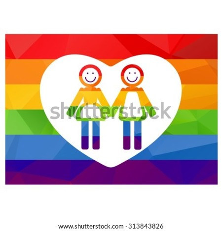 Gay women couple isolated on white background. Gay rainbow flag. Gay pride  symbol. LGBT pride symbol. Design element for Flyers or banners. 58a65fa5e9