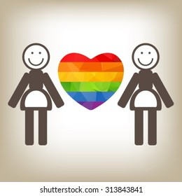 Gay women couple and rainbow heart isolated on gray background. LGBT pride symbol. Gay pride symbol. Valentine's Day card design element.