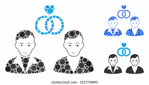 Gays marriage composition of small circles in different sizes and color tinges, based on gays marriage icon. Vector small circles are combined into blue composition.