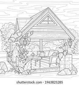 Gazebo in the garden.Coloring book antistress for children and adults. Illustration isolated on white background.Zen-tangle style. Hand draw
