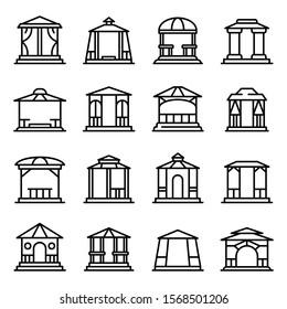 Gazebo icons set. Outline set of gazebo vector icons for web design isolated on white background