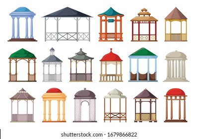 Gazebo of pergola vector cartoon set icon. Isolated cartoon set icon garden bower.Vector illustration gazebo of pergola on white background.