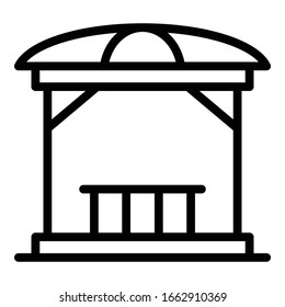 Gazebo structure icon. Outline gazebo structure vector icon for web design isolated on white background