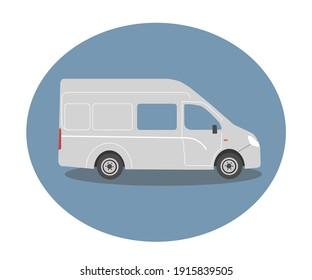 Gazelle auto on a blue background. House on wheels. Vector illustration.