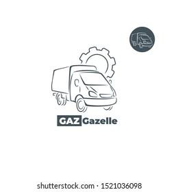 Gazelle car icon with gear element