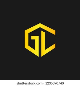 GC or G C letter alphabet logo design in vector format.