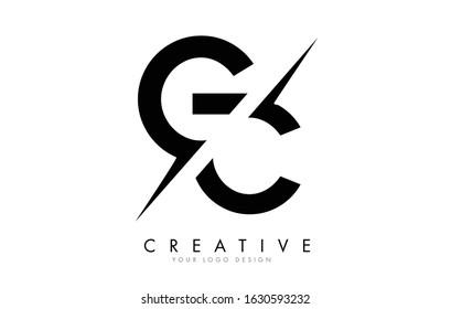 GC G C Letter Logo Design with a Creative Cut. Creative logo design..