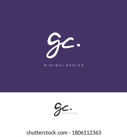 GC Initial handwriting or handwritten logo for identity. Logo with signature and hand drawn style.