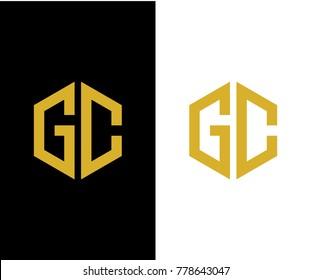 GC initial hexagon icon. letter. logo design vector eps 10