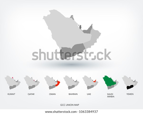 Gcc Countries Vector Eps Stock Vector (Royalty Free) 1063384937