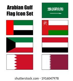 GCC Gulf Country Arabian Gulf or Persian Gulf Flag Icon set on isolated white background. United Arab Emirates, Kuwait, Qatar, Bahrain, Saudi Arabia, Yemen and Oman.