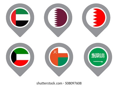 GCC Gulf country Flag Map Point isolated icon