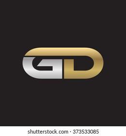 GD company linked letter logo golden silver black background