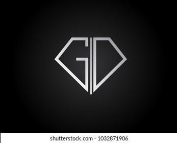 GD diamond shape silver color design