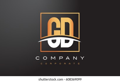 GD G D Golden Letter Logo Design with Swoosh and Rectangle Square Box Vector Design.