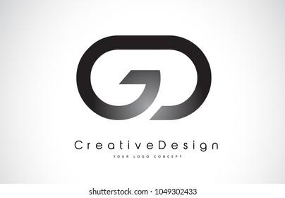 GD G D Letter Logo Design in Black Colors. Creative Modern Letters Vector Icon Logo Illustration.