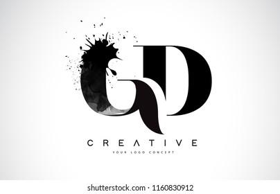 GD G D Letter Logo Design with Black Ink Watercolor Splash Spill Vector Illustration.