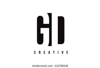 GD G D White Letter Logo Design with Black Square Vector Illustration Template.