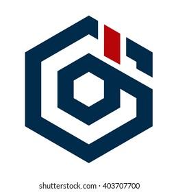 Gd hexagon initial logo