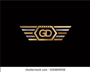 GD initial box shape Logo designs template
