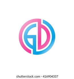 GD initial letters loop linked circle logo pink blue