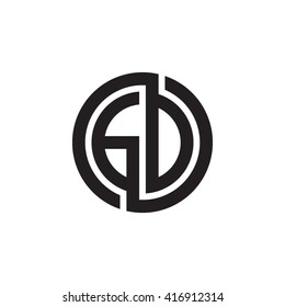 GD initial letters loop linked circle monogram logo