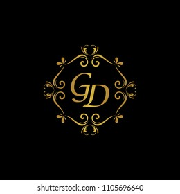 GD Initial logo. Ornament ampersand monogram golden logo black background