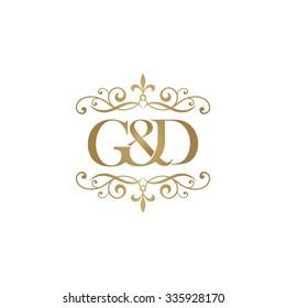 G&D Initial logo. Ornament ampersand monogram golden logo