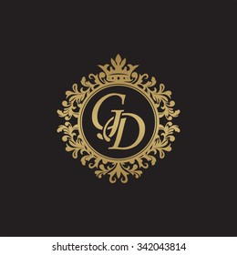 GD initial luxury ornament monogram logo