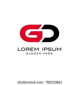 GD initial, monogram, capital, bold logo template
