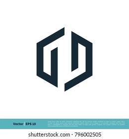 GD Letter Hexagon Shape Icon Logo Vector Template Illustration Design. Vector EPS 10.