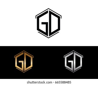 GD letters linked with hexagon shape logo
