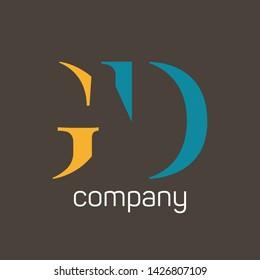 GD logo design. Monogram logo. Company logo. Letters G and D.