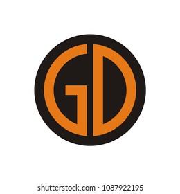 GD logo initial letter design template vector