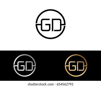 Gd Logo. Letter Design Vector with Red and Black Gold Silver Colors